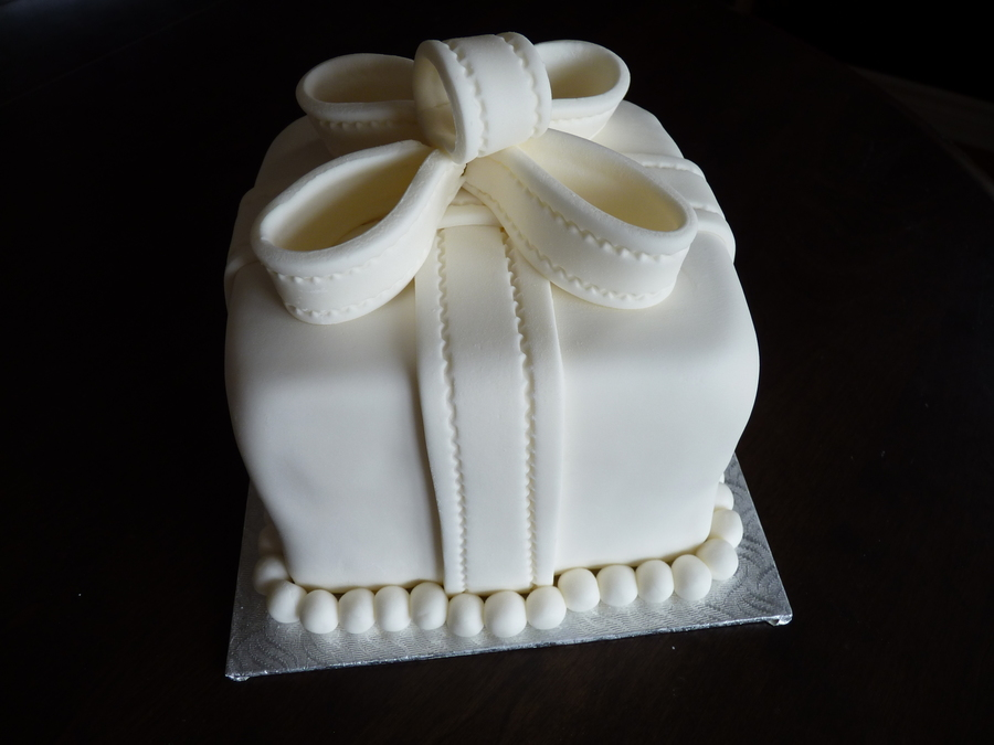 Little White Gift Cake on Cake Central