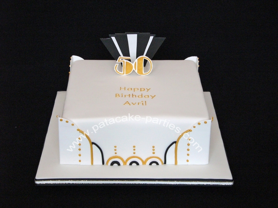 50th Birthday Art Deco Cake Cakecentral Com