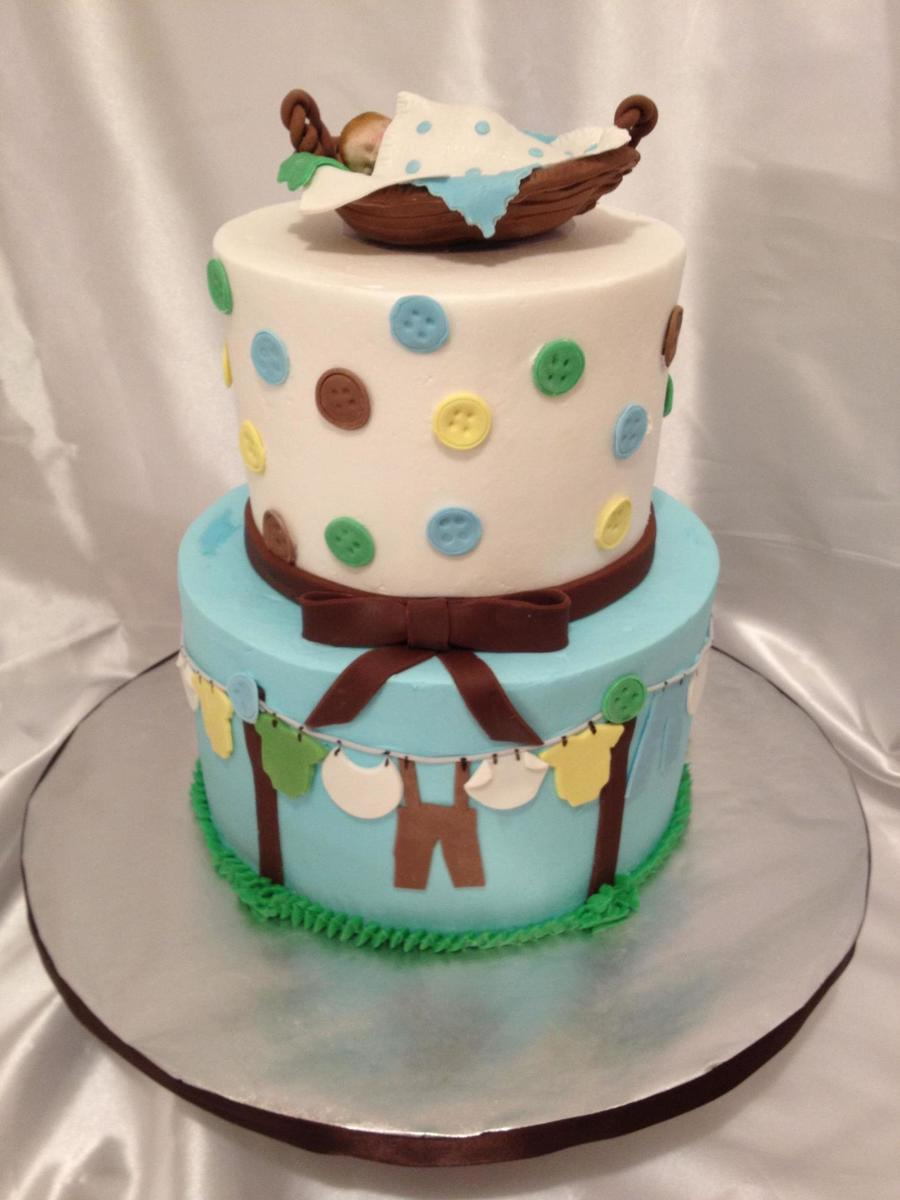 Cloth Line Baby Shower Cake on Cake Central
