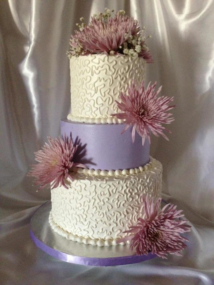 Lavender Cornelli Lace Wedding Cake With Fresh Flowers. on Cake Central