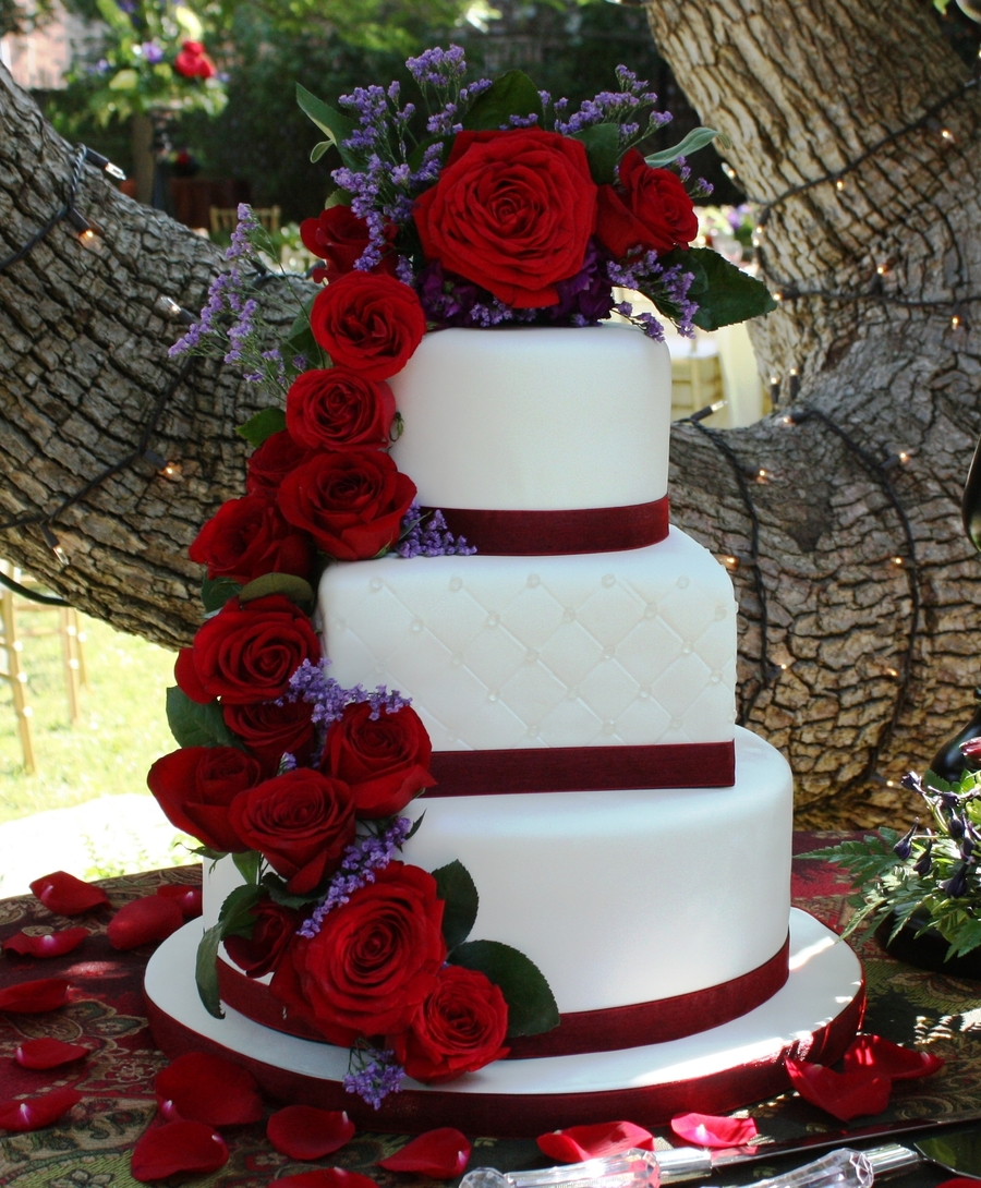 cascading red roses wedding cake cascading cake cakecentral 12430