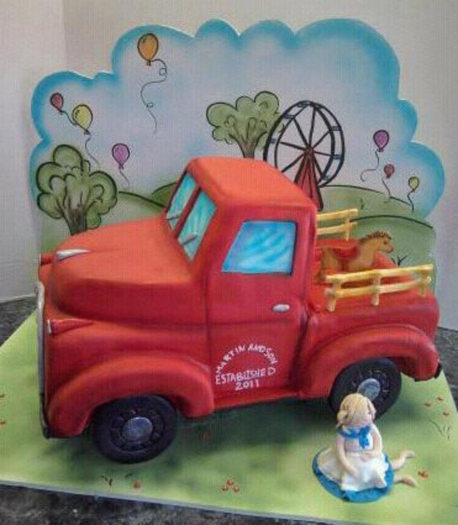 Old Fashioned Truck Baby Shower Cake on Cake Central