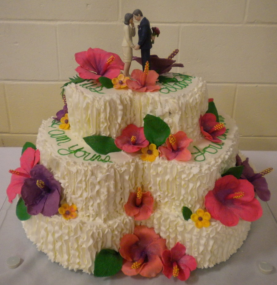 Hibiscus Wedding Cake on Cake Central
