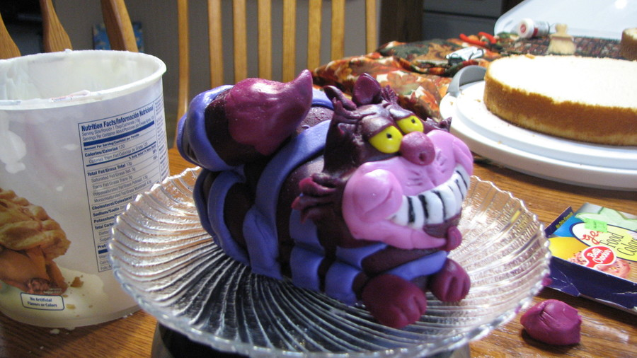 This Is The Cheshire Cat For Top Of My Nieces Second Birthday Cake Hes Made Out White And Butter Cream Frosting Covered In Marshmallow