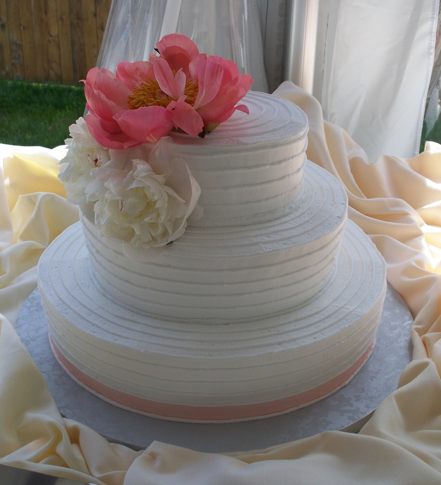 Country Chic Horizontal Line Wedding Cake on Cake Central