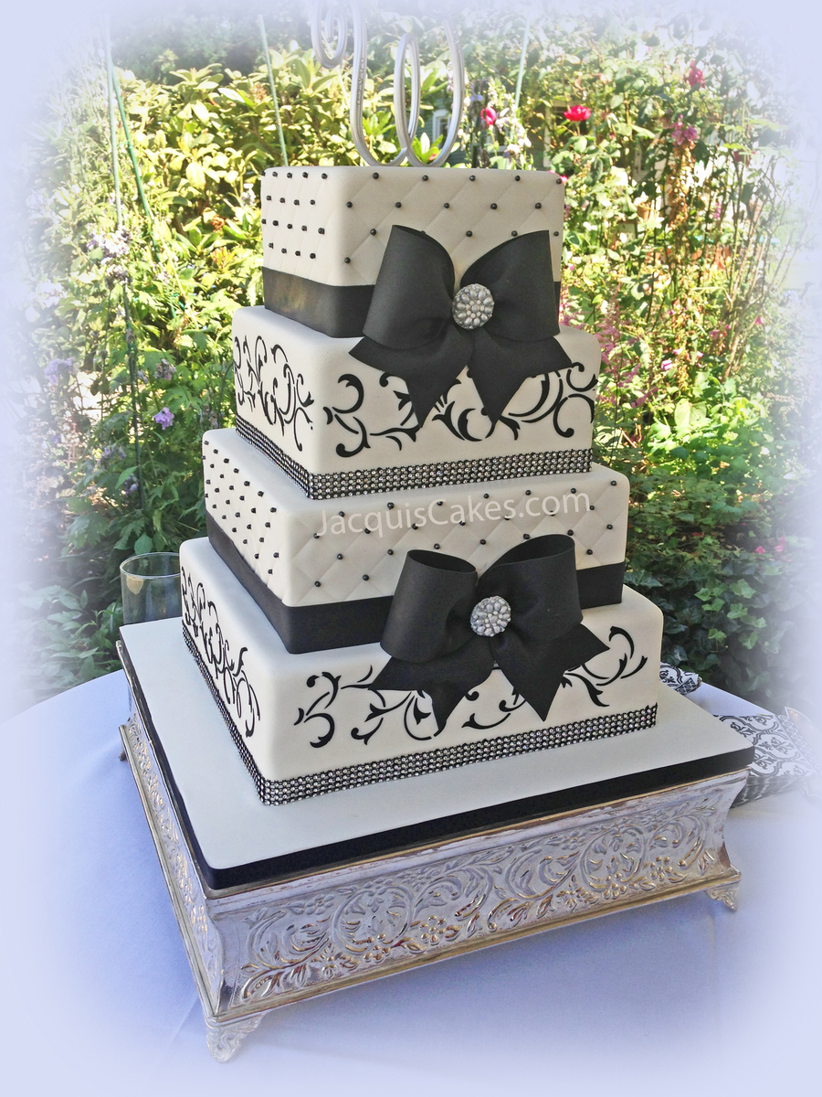 Black Bows And Broaches Wedding Cake on Cake Central