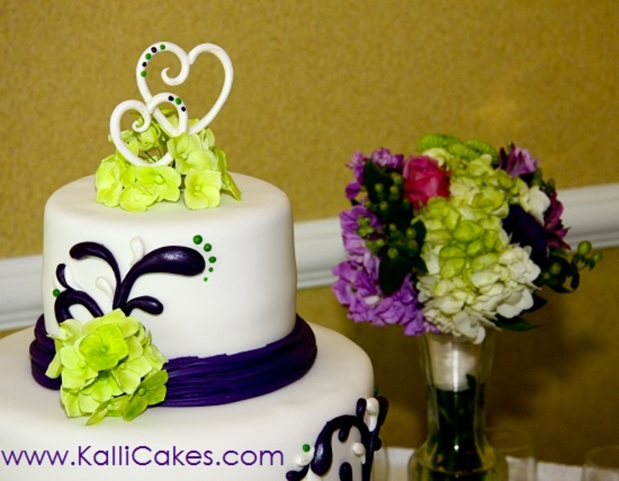 Lime Green, Purple And Pearl. - CakeCentral.com