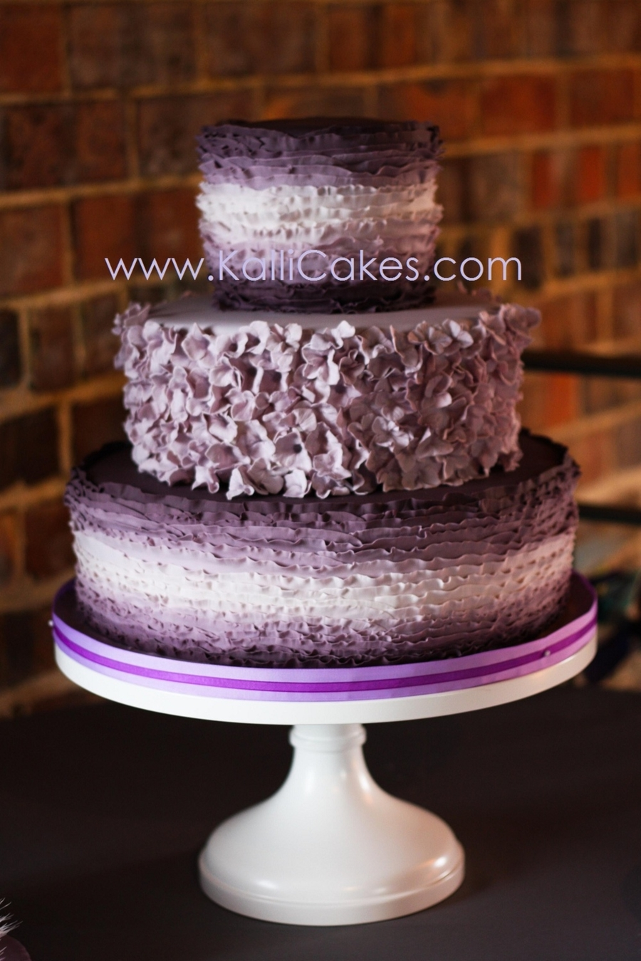 Purple Ombre Frill Wedding Cake  on Cake Central