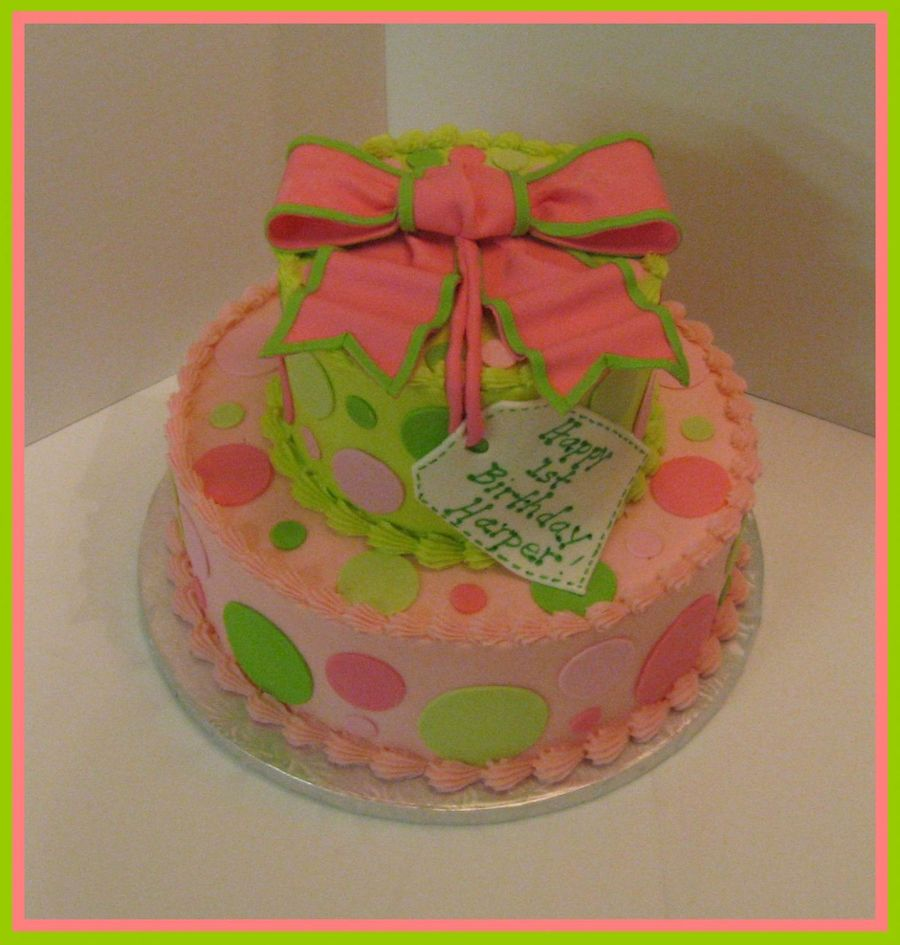 Pink And Lime Green Polka Dots on Cake Central