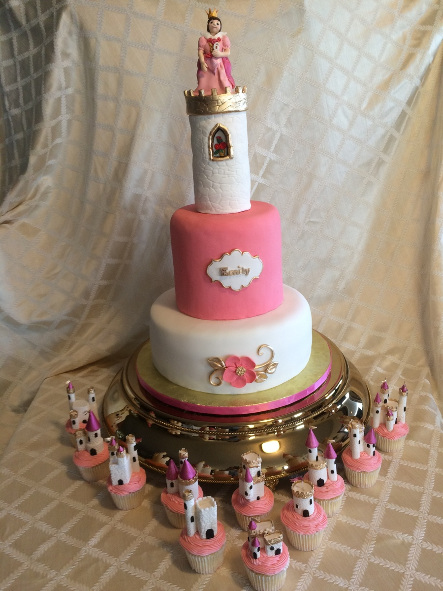 Miniature Gumpaste Castles Surround A Princesscastle Birthday Cake