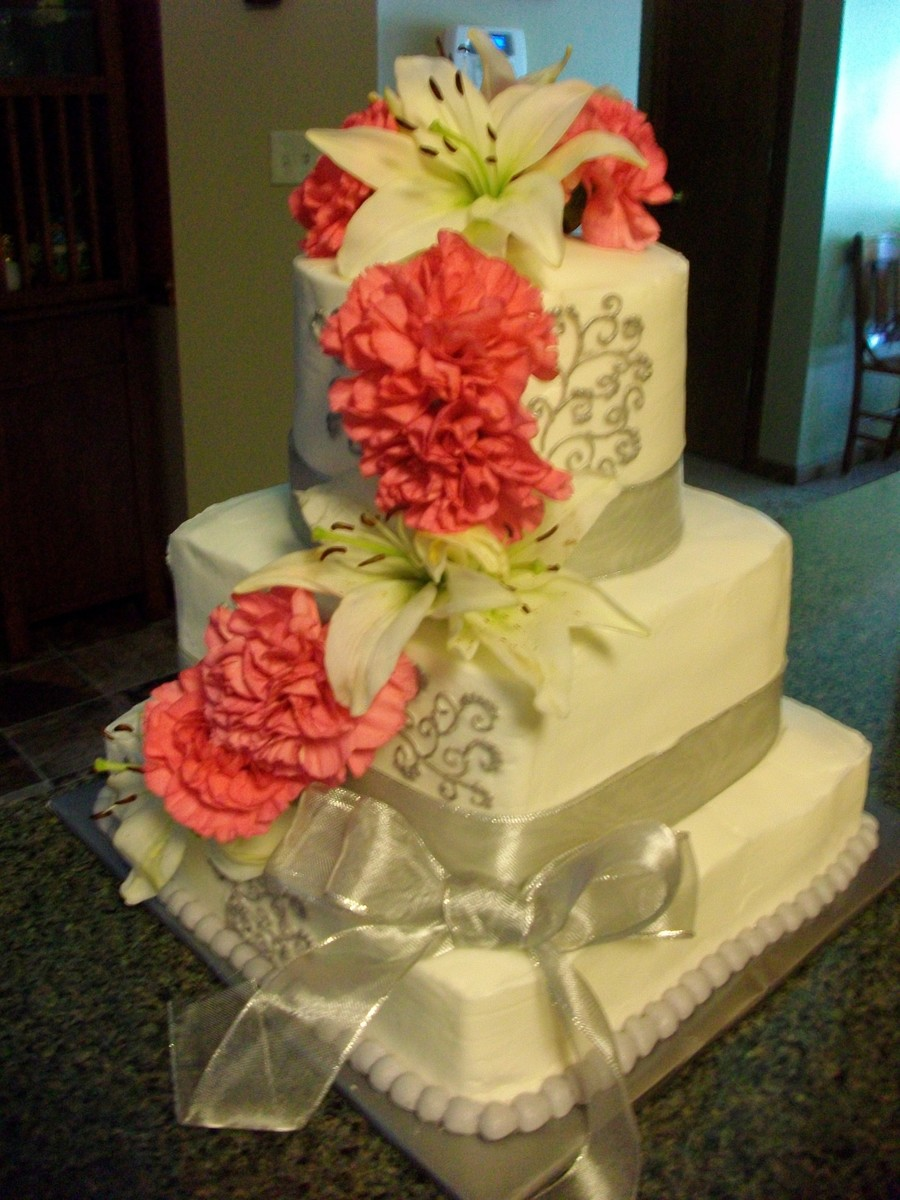 Pink/white/silver Wedding Cake - CakeCentral.com