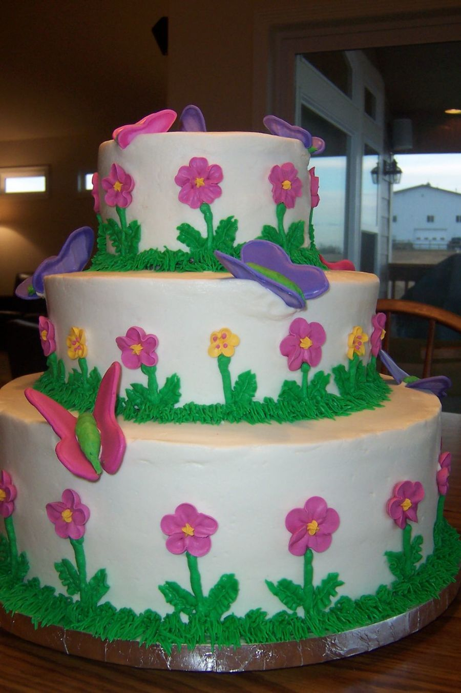 Butterflies And Flowers For A Baby Girl  on Cake Central