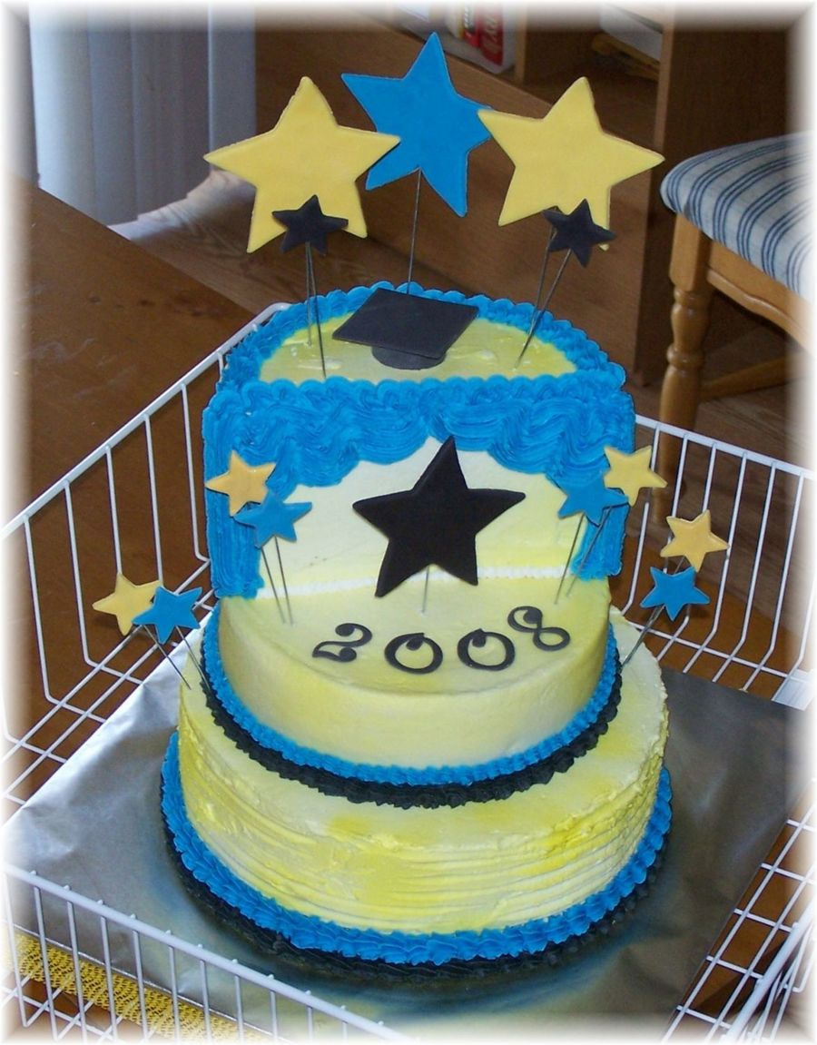 Graduation Cake With 3D Stage & Fondant Stars on Cake Central