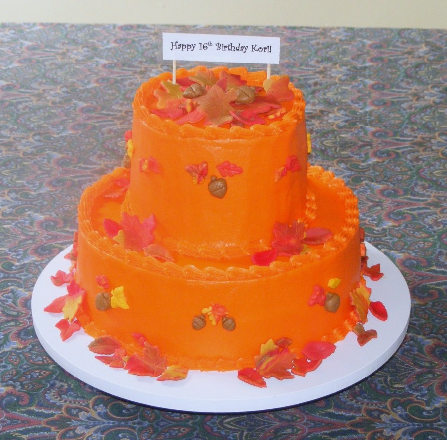 Fall Themed Sweet 16 Cake on Cake Central