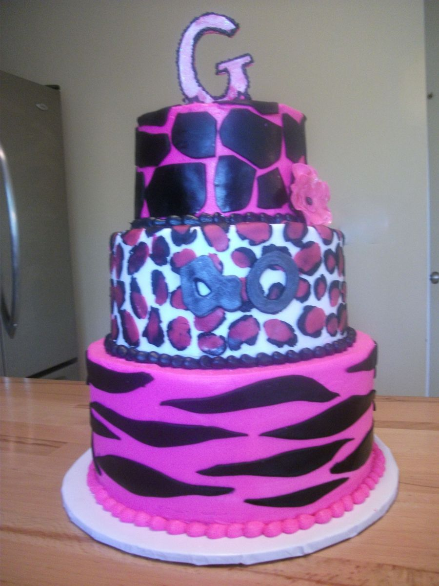 Animal Print Birthday Cake on Cake Central