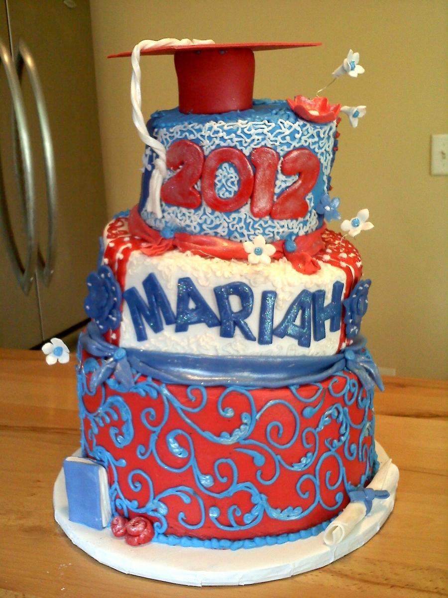 Red White And Blue Graduation Cake Cakecentral Com