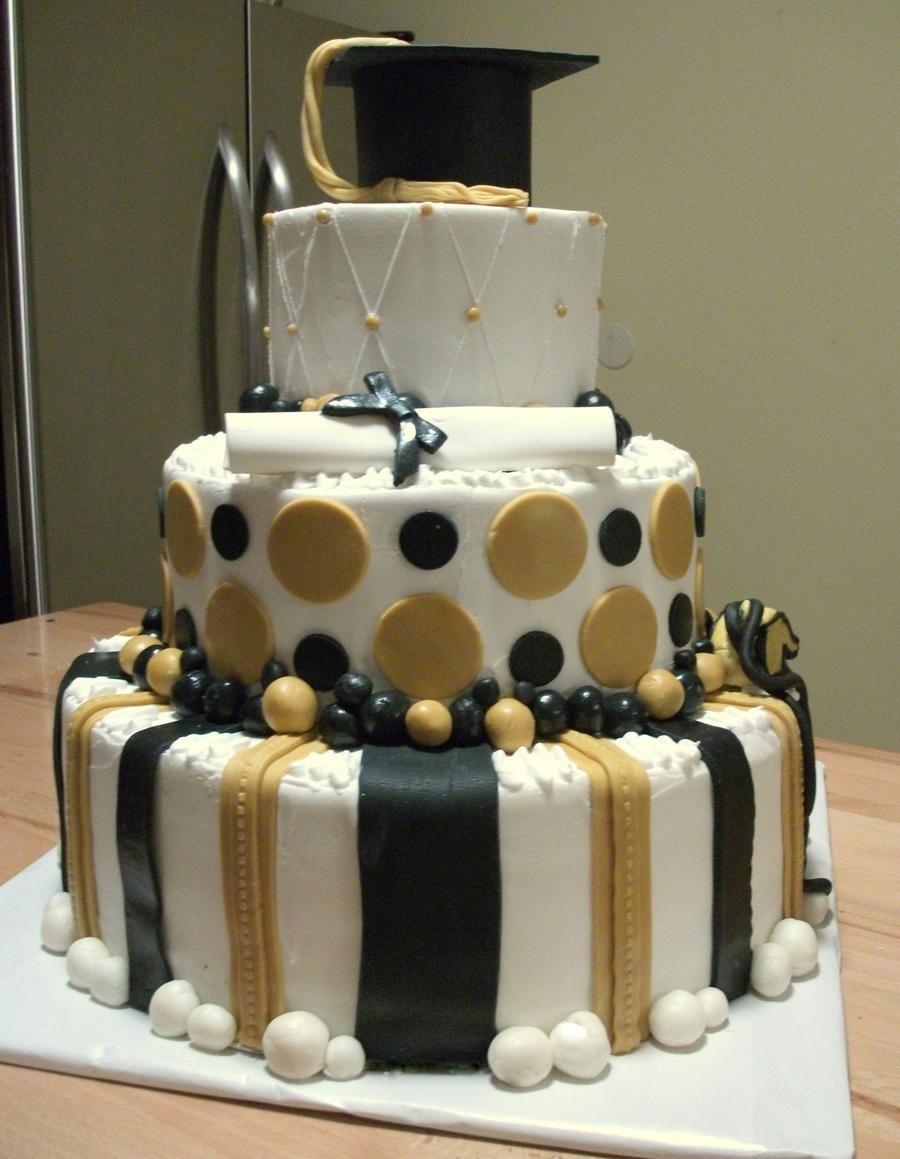 Black And White Graduation Sheet Cake