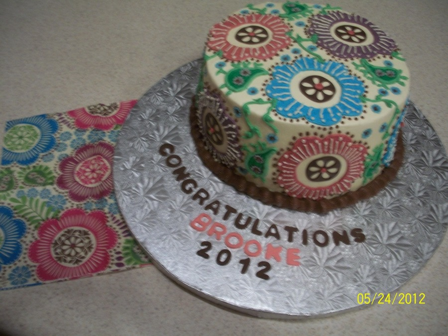Graduation Cake For My Niece She Wanted It To Match Her Napkins on Cake Central