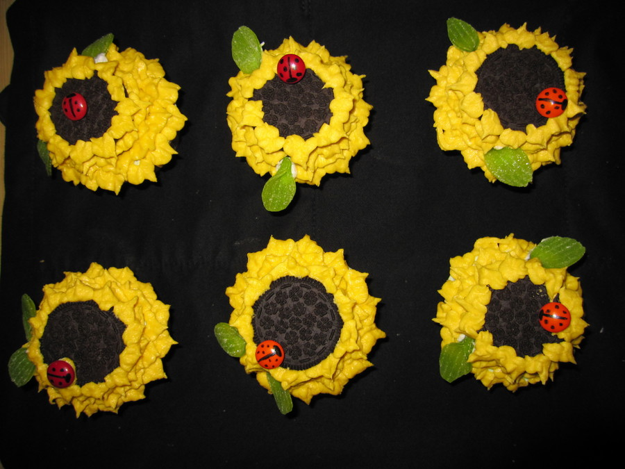 Sunflower With Ladybirds on Cake Central