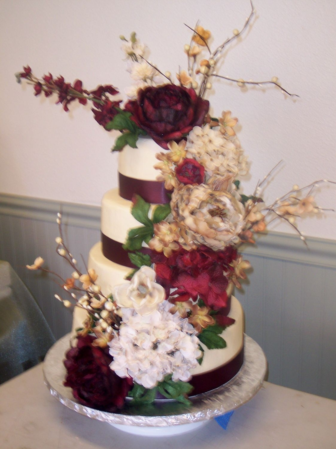 Burgundy And Ivory Silk Flowers Cakecentral