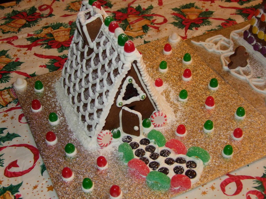 Homemade Gingerbread Using A Old School A Frame Pattern That We Used When We Were Kids on Cake Central