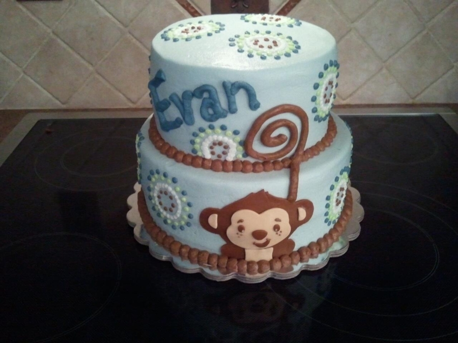 Blue Monkey Baby Shower Cake on Cake Central
