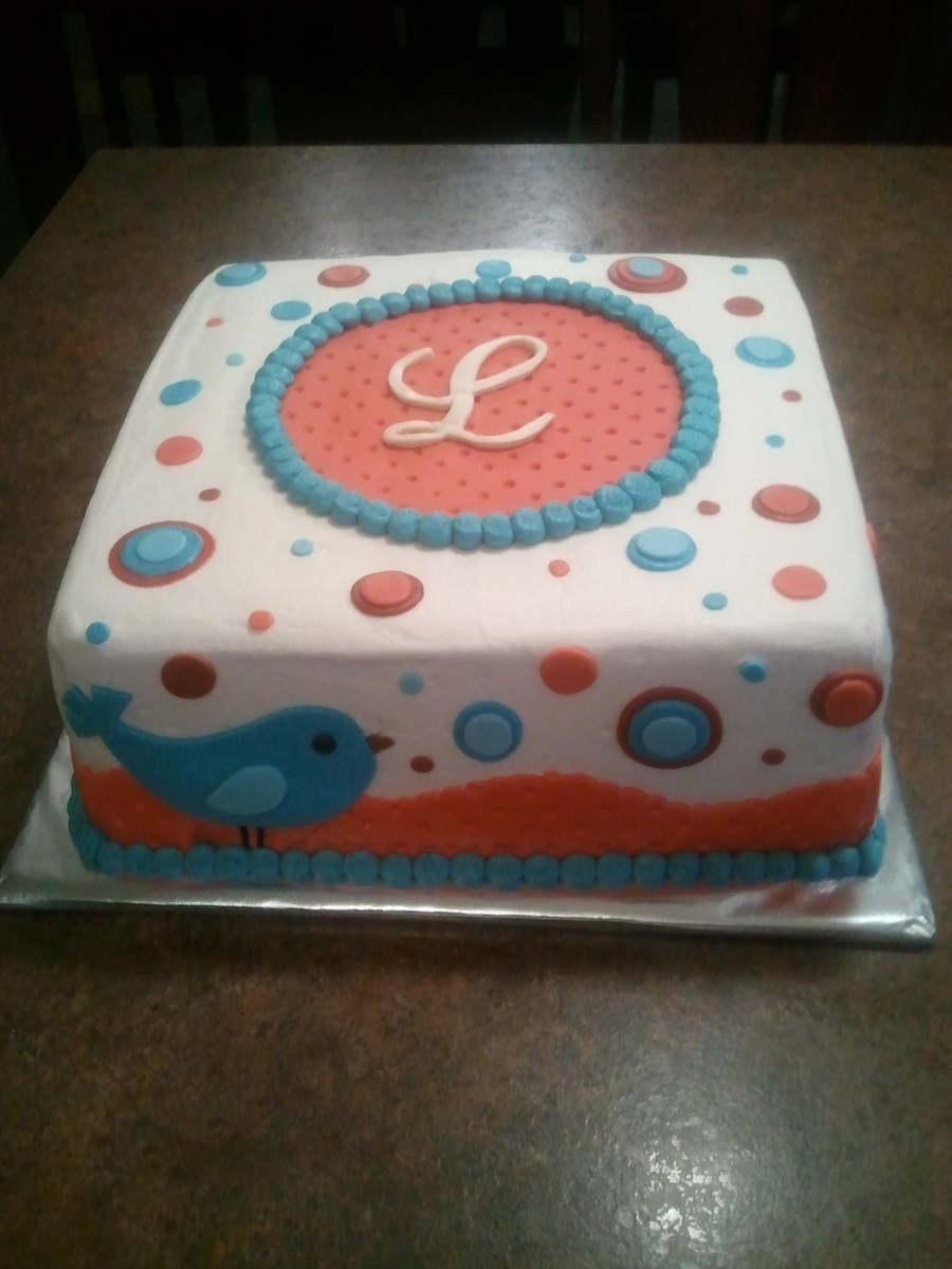 Blue Bird Baby Shower Cake on Cake Central