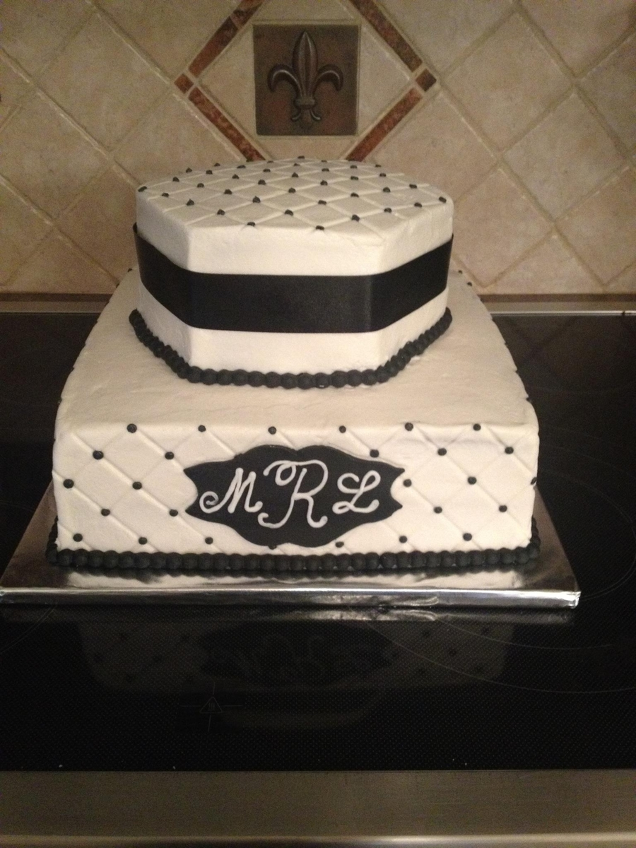 Black & White Shower Cake on Cake Central