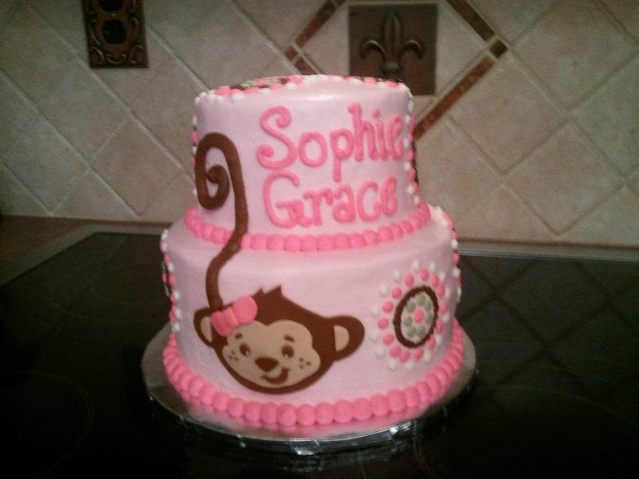 Pink Monkey Baby Shower Cake on Cake Central
