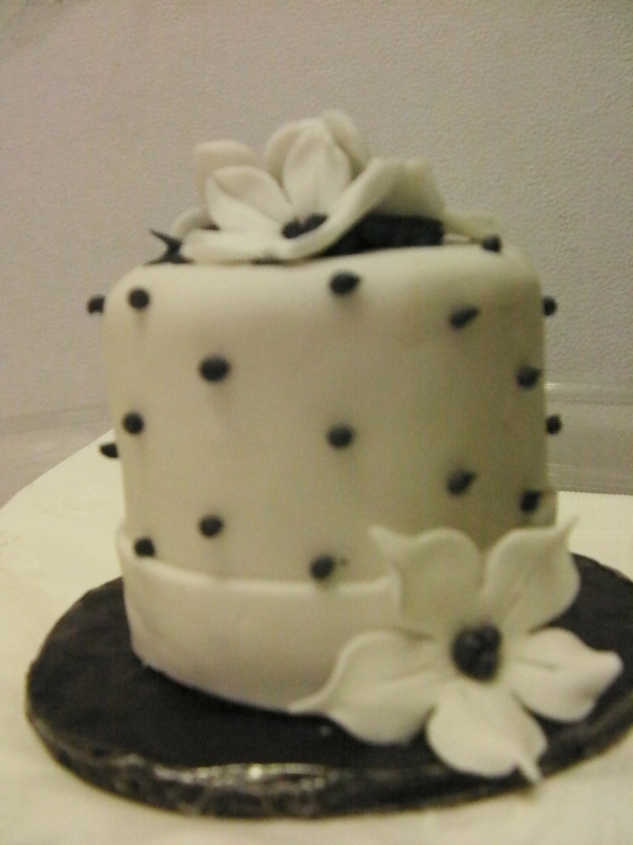 Black And White Polka Dots Mini Wedding Cake on Cake Central