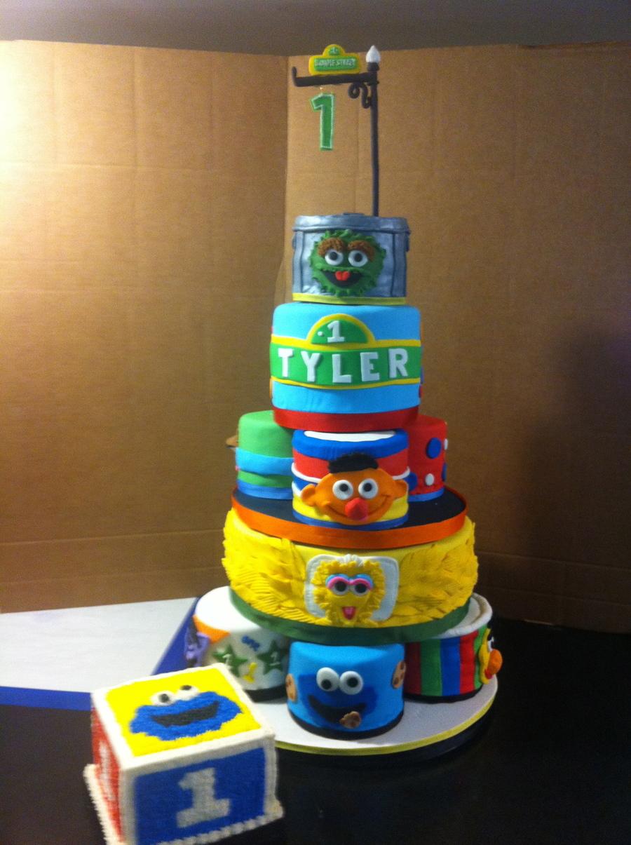 Enjoyable Red Velvet Sesame Street First Birthday Cake 10 Character Cakes Personalised Birthday Cards Sponlily Jamesorg