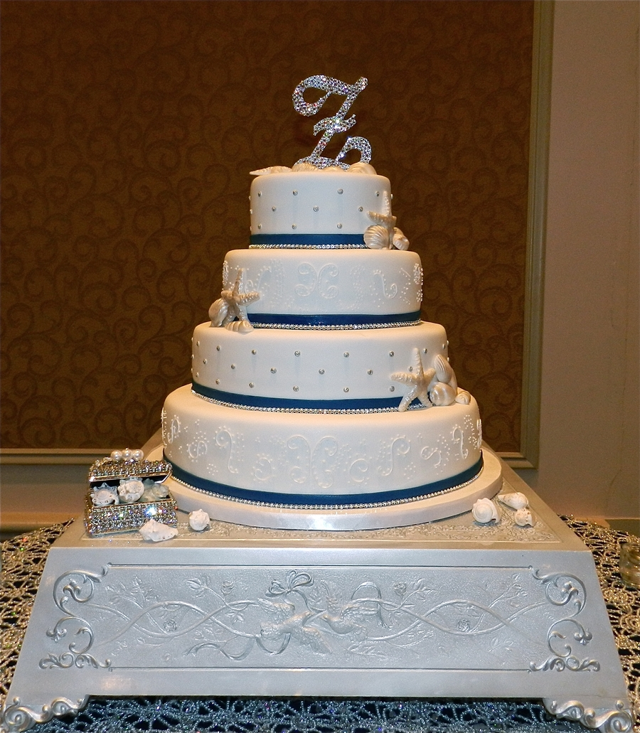 4 Tier White Elegant Beach Wedding Cake on Cake Central