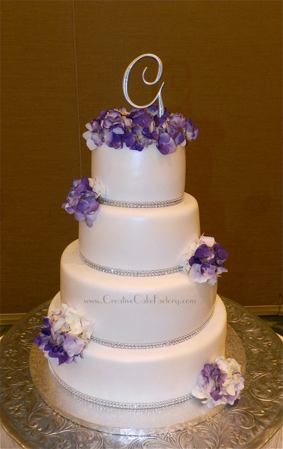 Purple Hydrangea Wedding Cake  on Cake Central