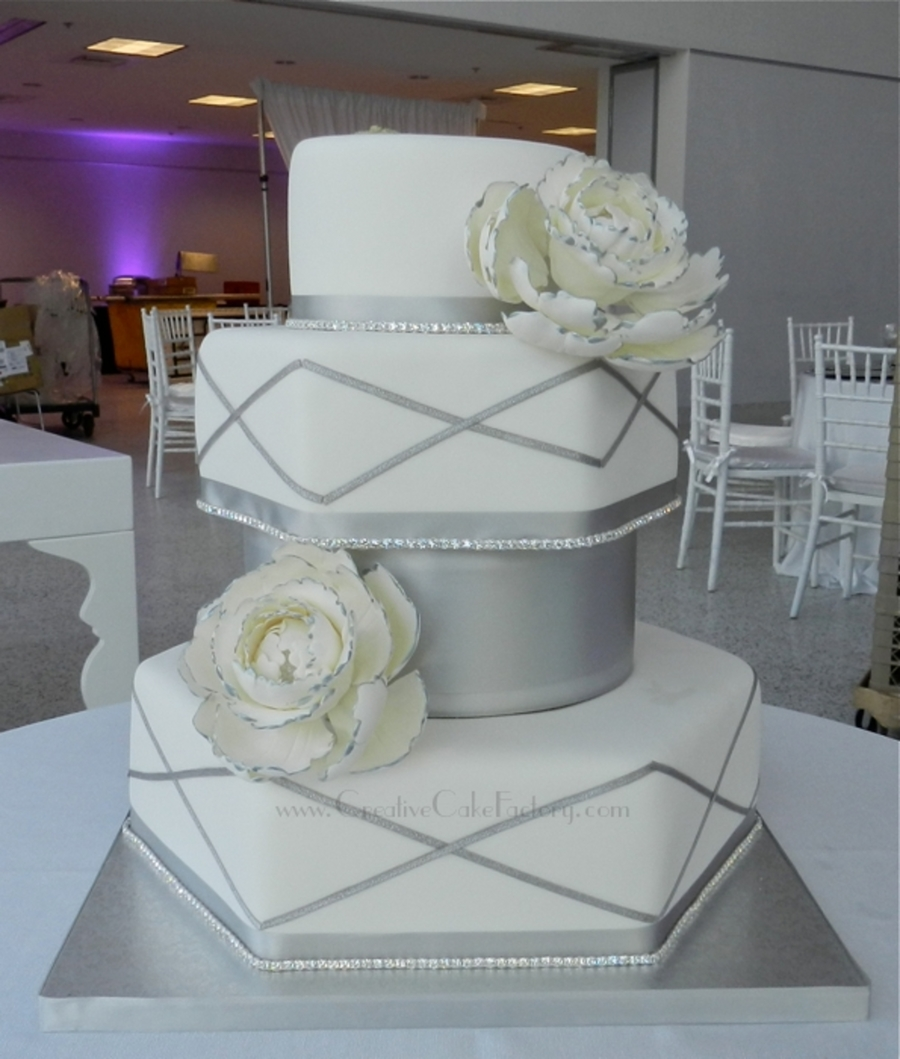white wedding cake with silver ribbon silver amp white wedding peony cake cakecentral 27422
