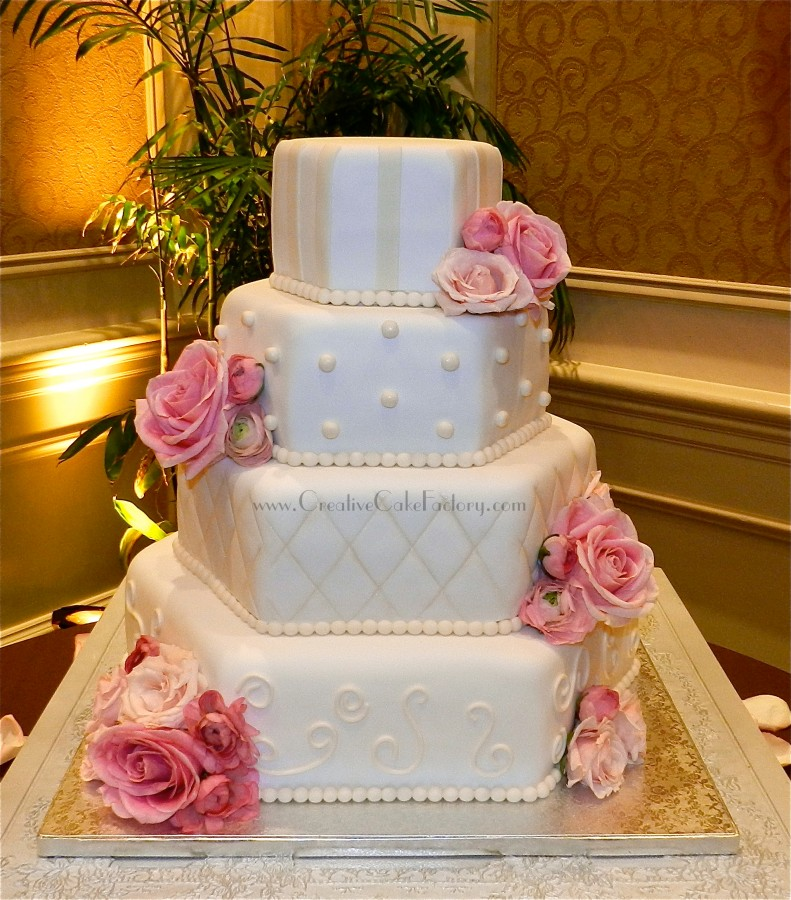 Multi Design Hexagon Wedding Cake on Cake Central