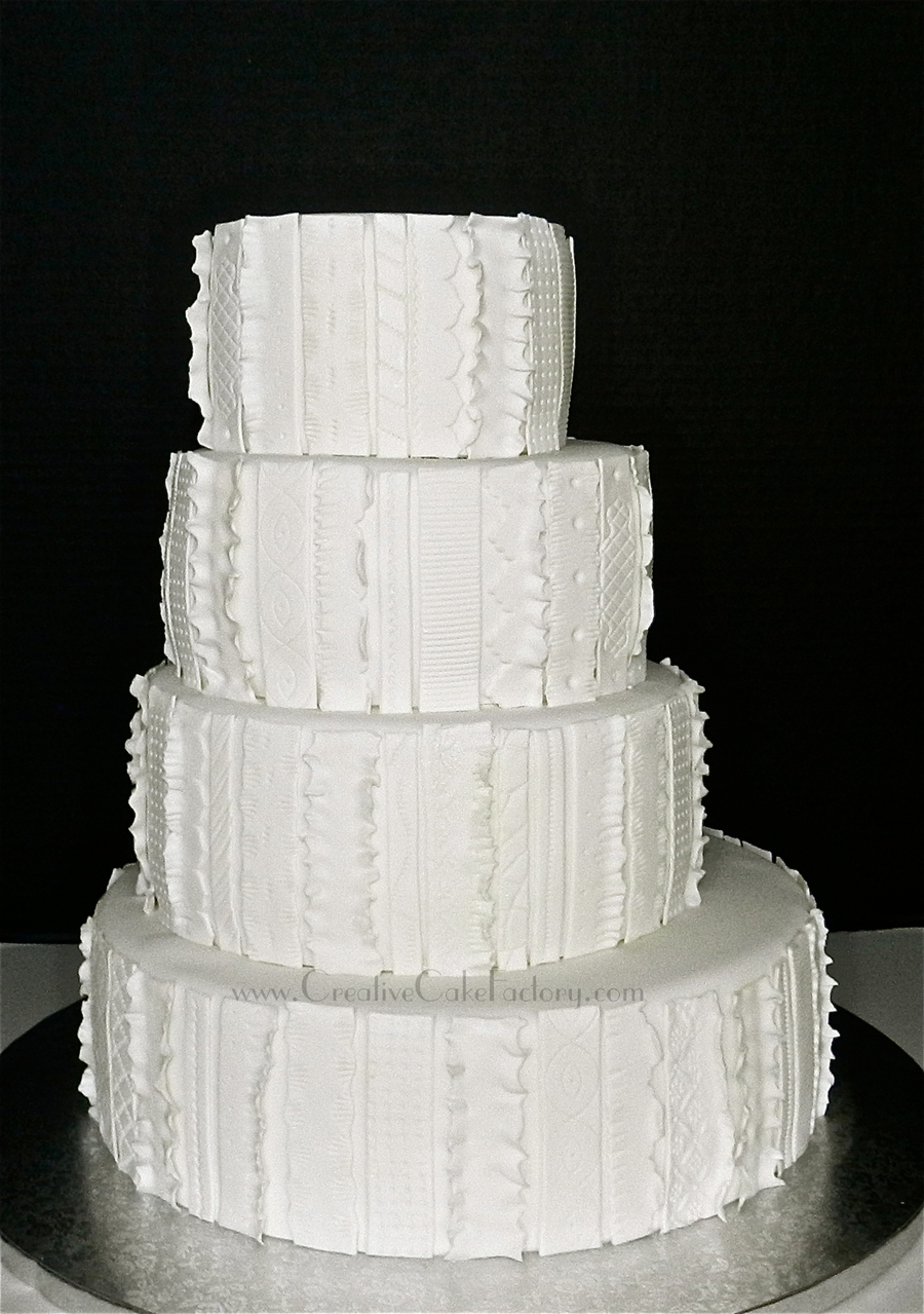 Textured Fondant Wedding Cake on Cake Central