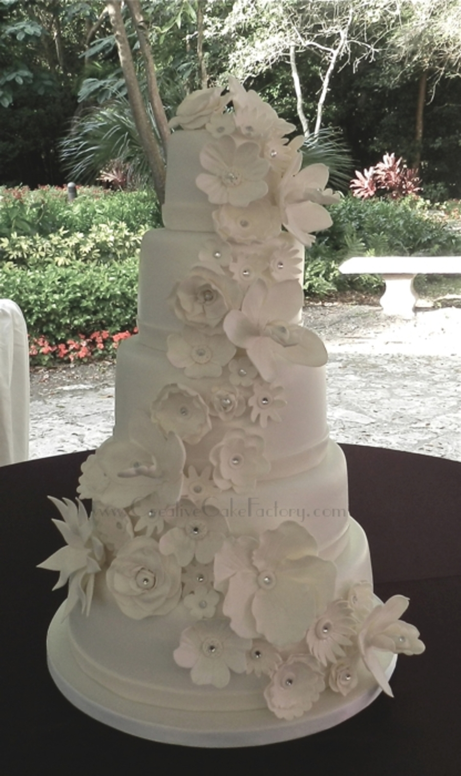 White Wedding Cake Gumpaste Flowers On Central
