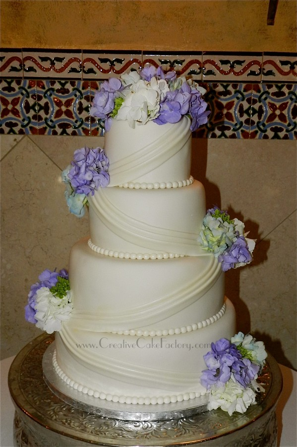 Swag & Hydrangeas Wedding Cake  on Cake Central