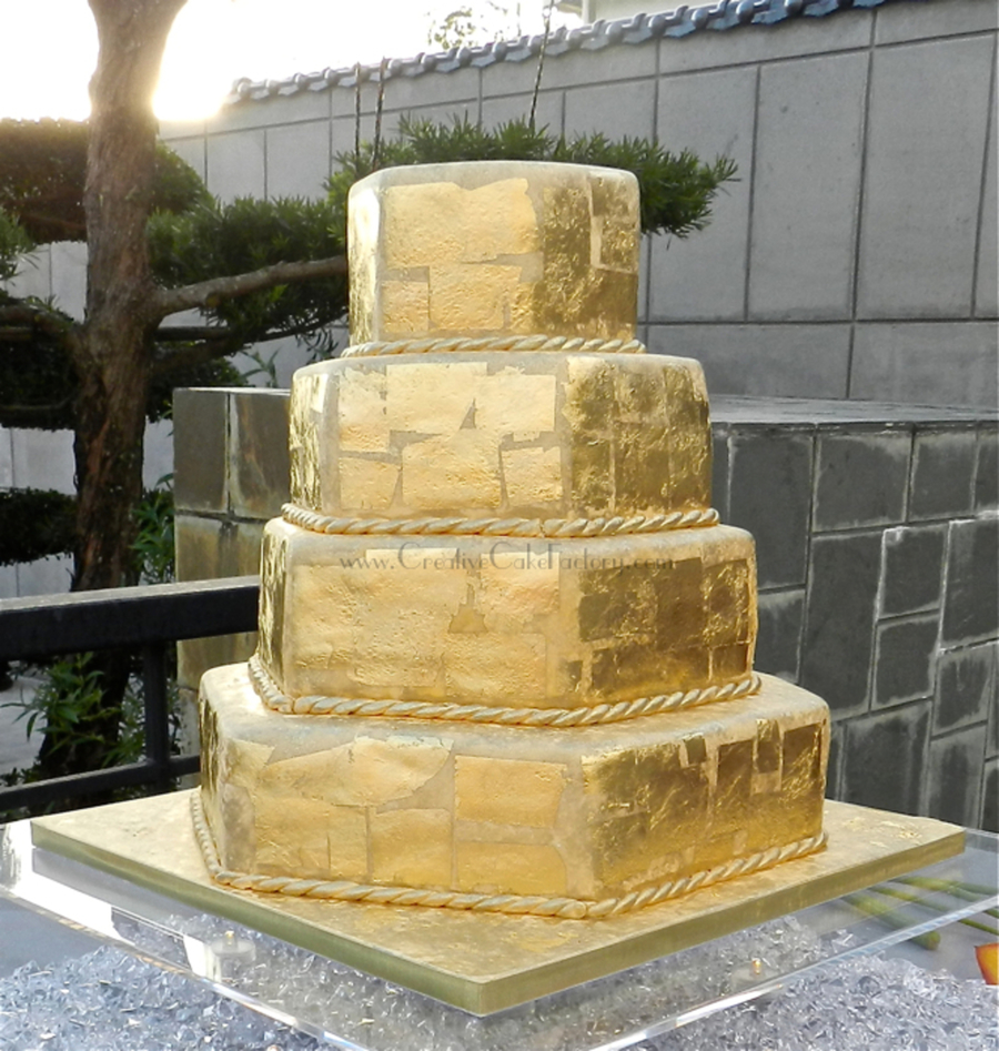Gold Leaf Wedding Cake Cakecentral Com