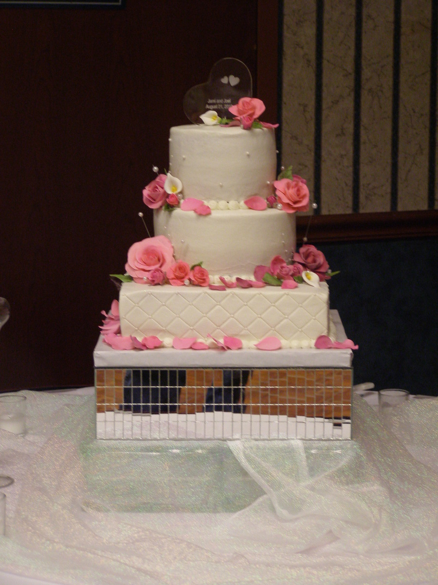 Wedding Cake With Pinks on Cake Central