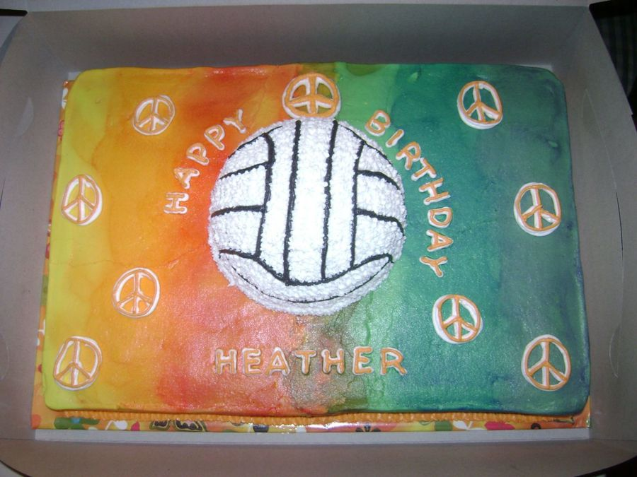 Volleyball & Peace Signs  on Cake Central