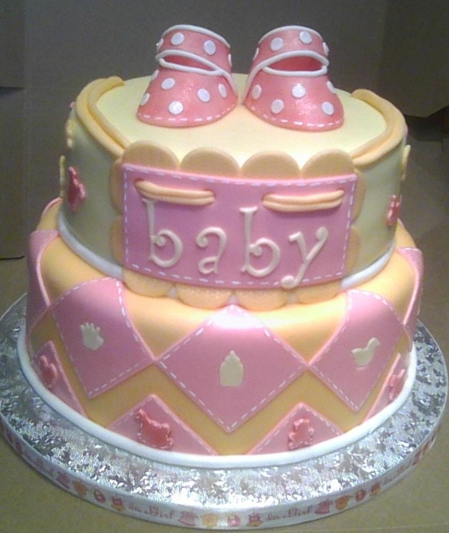 Baby Girl Pink Booties  on Cake Central