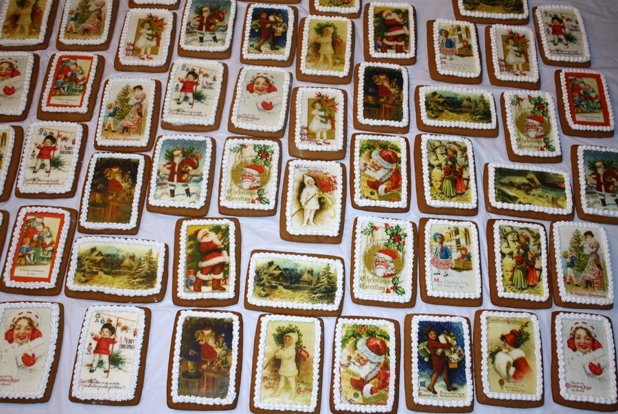 Vintage Christmas Postcard Cookies on Cake Central