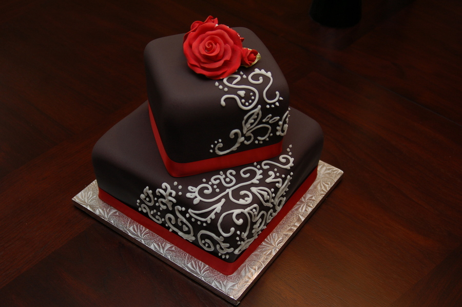 White Red And Black Wedding Cakes