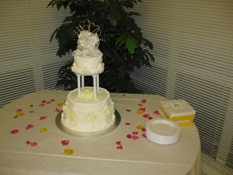Anniversary Cake For A Friend Topper From Her Original Wedding Cake 6 10 And 12 Inch In Buttercream on Cake Central