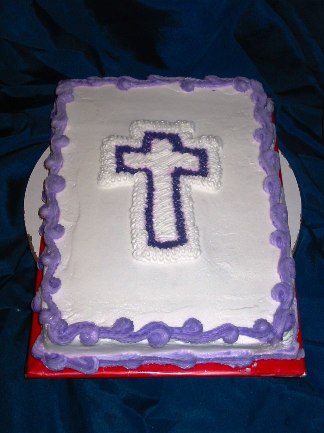 Purple & White Cross Cake on Cake Central
