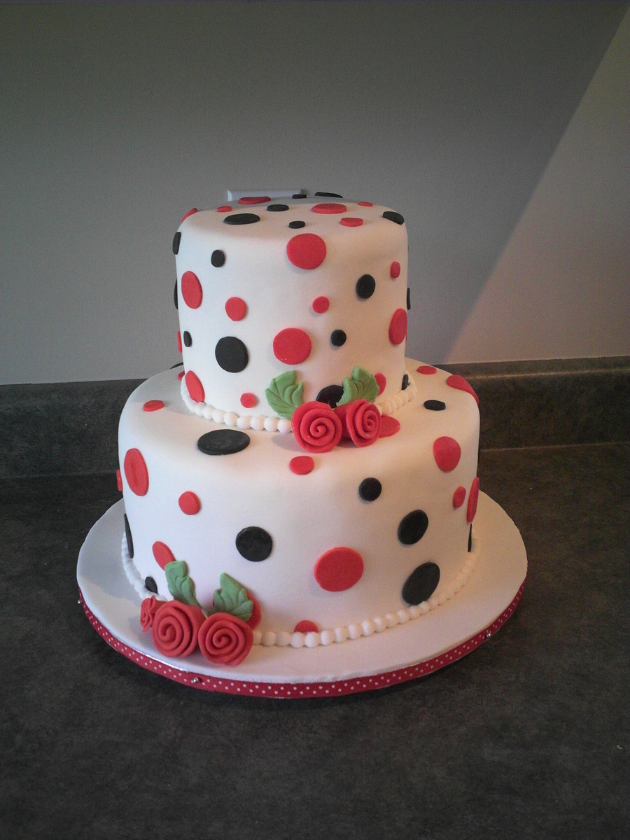 Black And White Polka Dot Wedding Cake