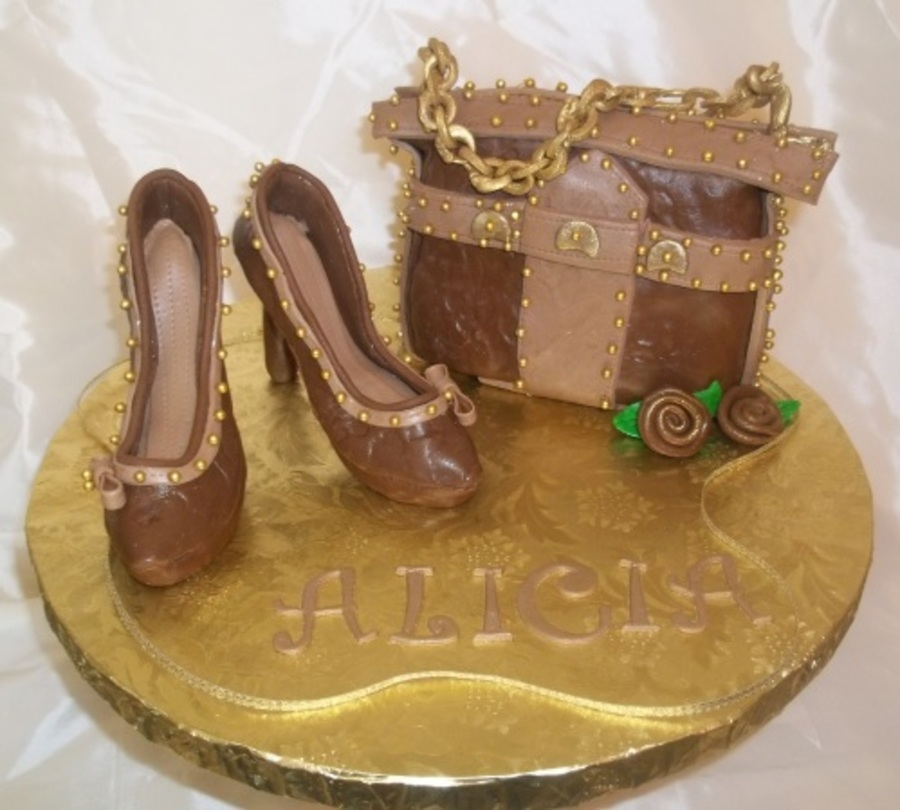 Brown Heels And Purse on Cake Central