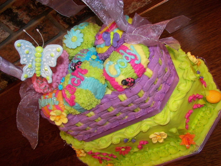 Two tier easter basket cake cakecentral negle Images