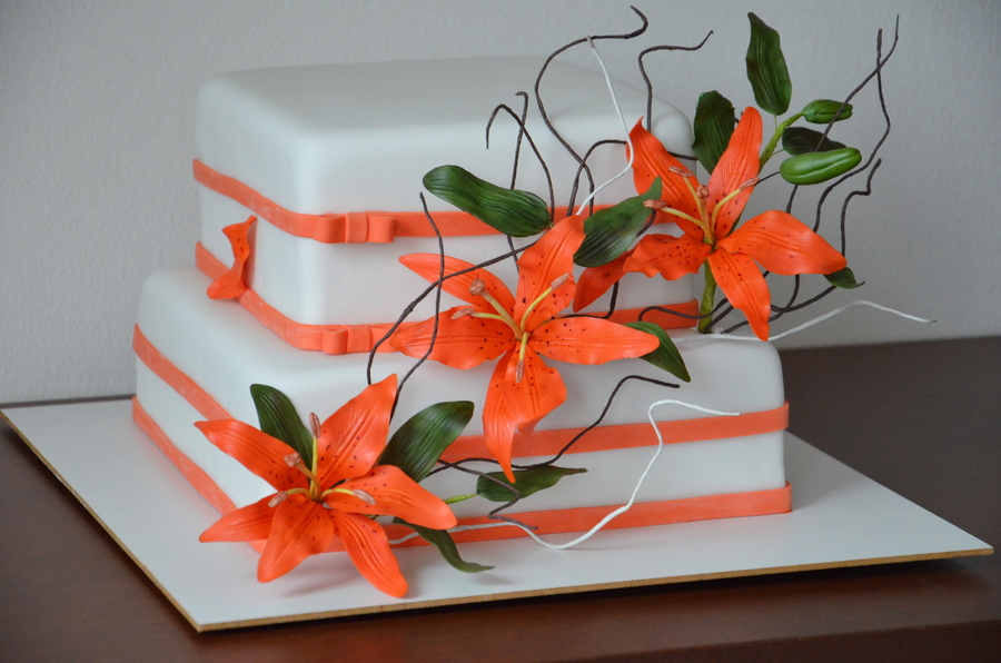 Orange Lilies on Cake Central